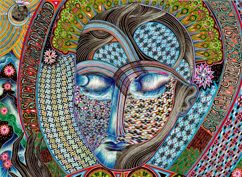 Drawing of a multicolored face with multicolored patterns and flowers in the background