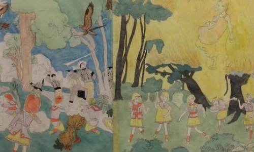 Henry Darger. Carbon transfer, watercolor and pencil on pierced paper.