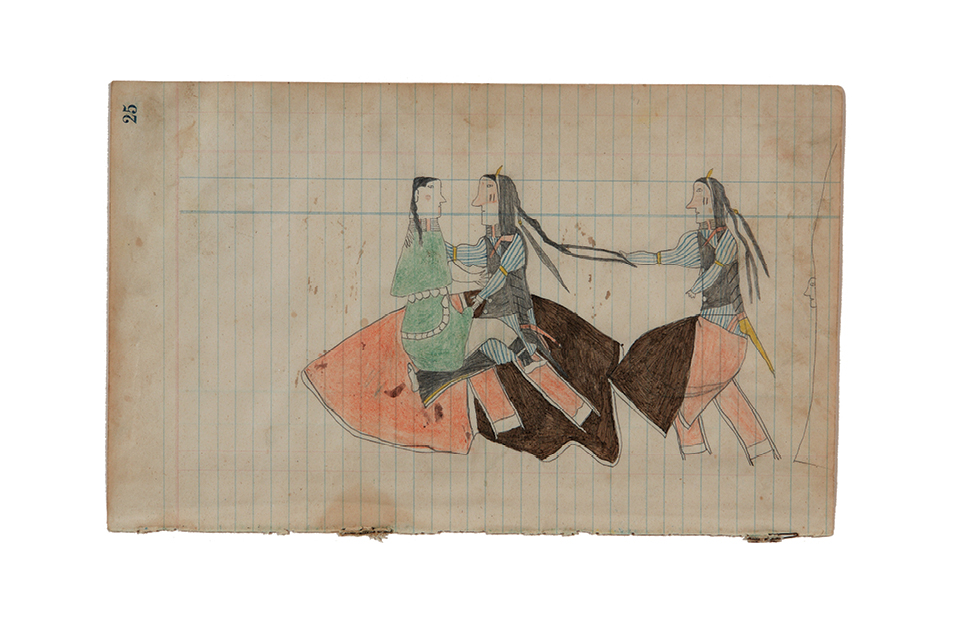 Anonymous (American). Courting scene. Color pencil and graphite on ledger paper.