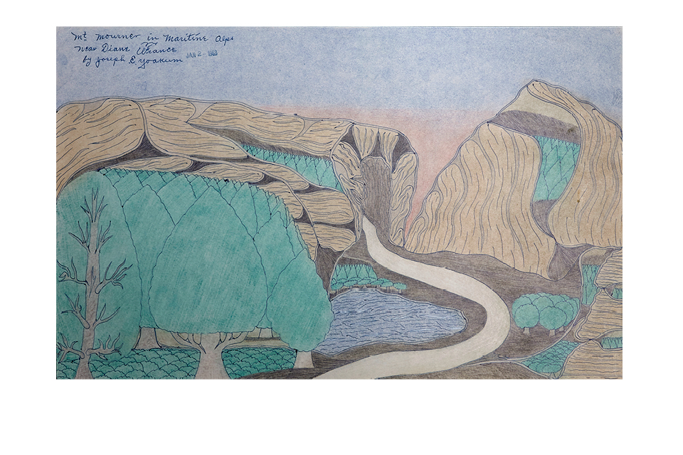 Mt. Mourner in Maritine Alps near Diane France by Joseph E. Yoakum, Colored pencil and ink on paper