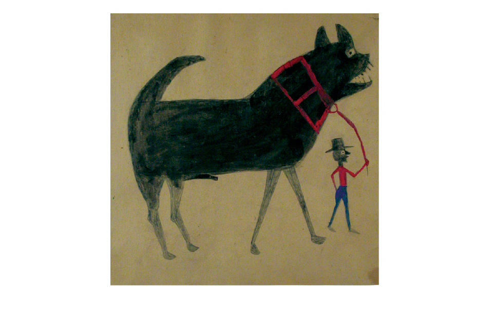 Bill Traylor. Man leading black dog. Mixed media on board.