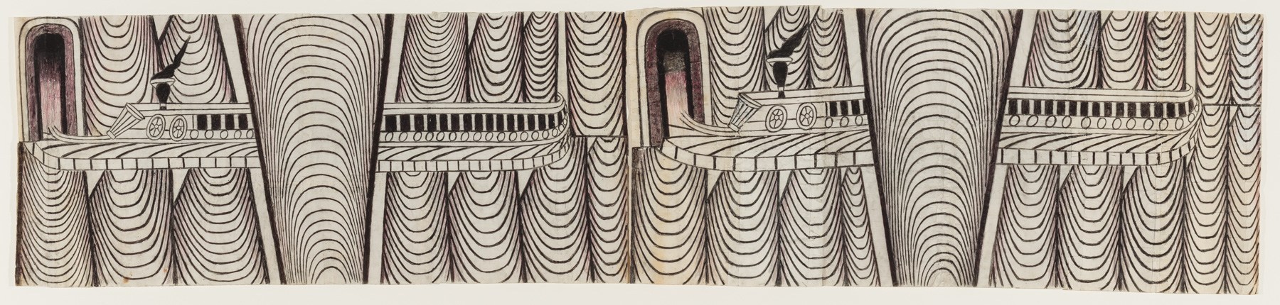 Drawing of two trains moving left through a spiraling landscape