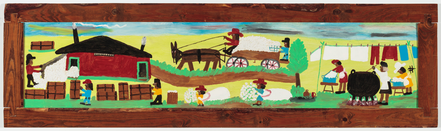 Clementine Hunter painting with scenes of plantation life