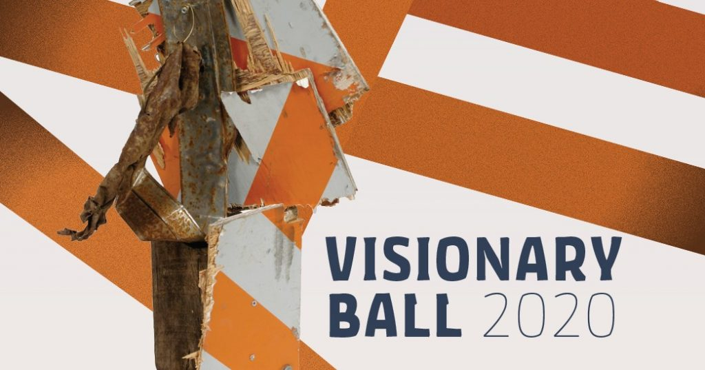 Visionary Ball 2020 text on orange and white striped background with a work by Lonnie Holley