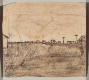 James Castle drawing of an Idaho landscape