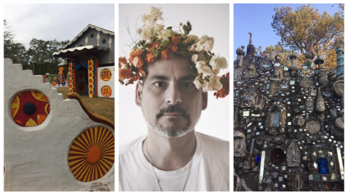 Photo of Pasaquan, photo of Franklin Vagnone, and photo of Paradise Garden