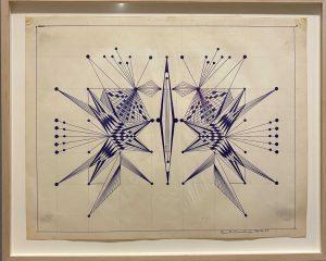 Geometrical line drawing in blue by Eugene Von Bruenchenhein