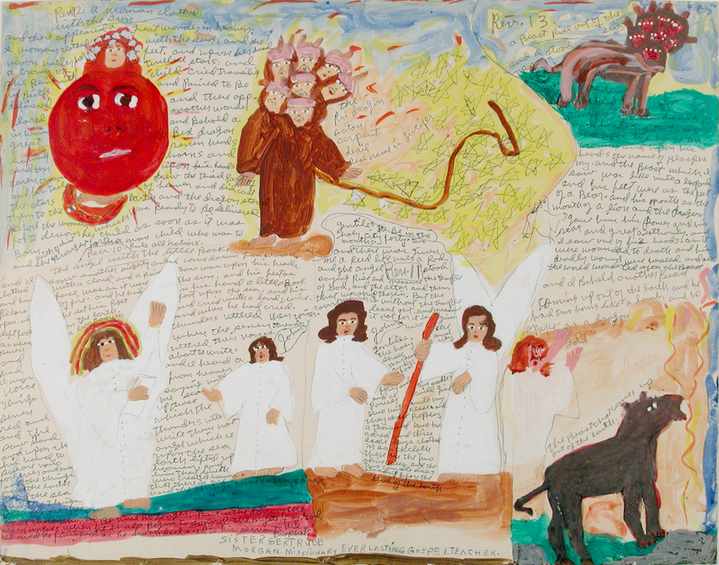 Angels in the bottom left with a donkey or horse in the bottom right, a red sun in the upper left corner next to men in brown robes