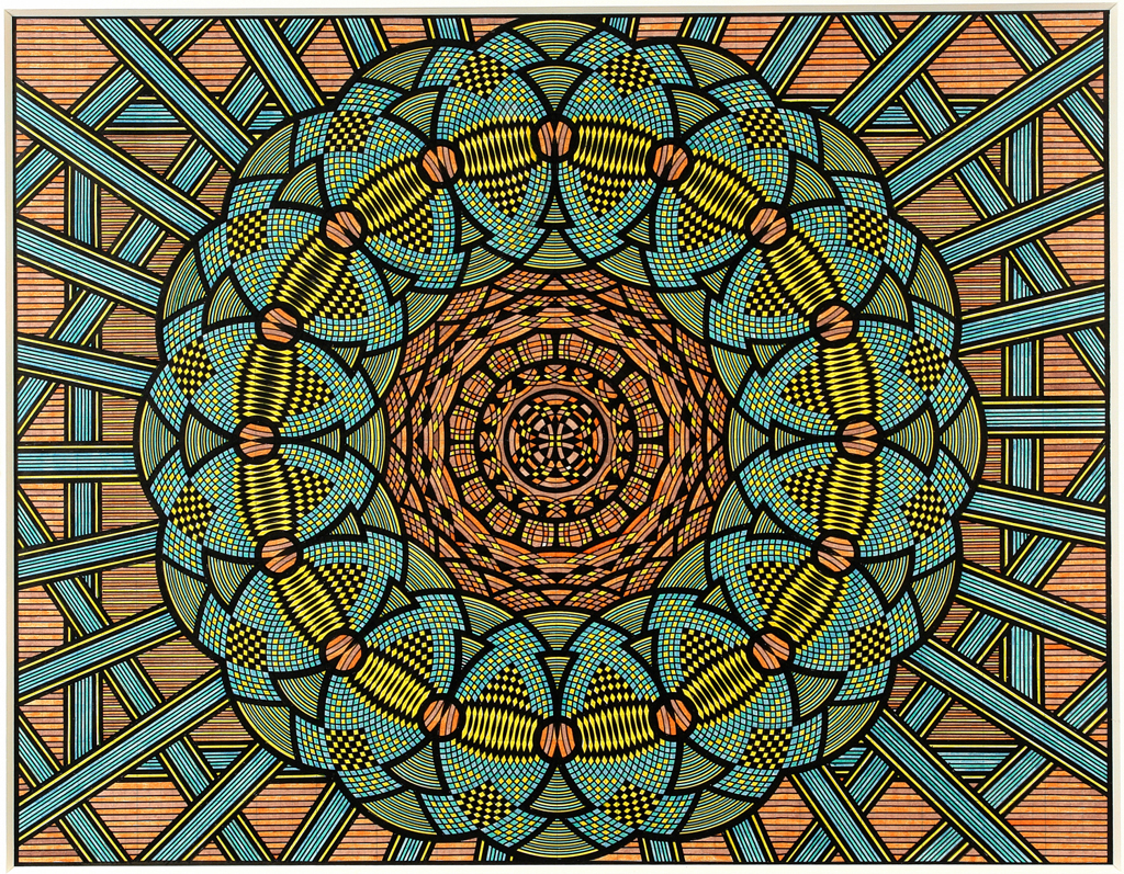 Kaleidoscopic drawing with rings and rays of blue, beige, and green