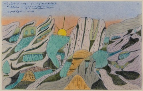 Drawing of a mountainous landscape with a rising sun