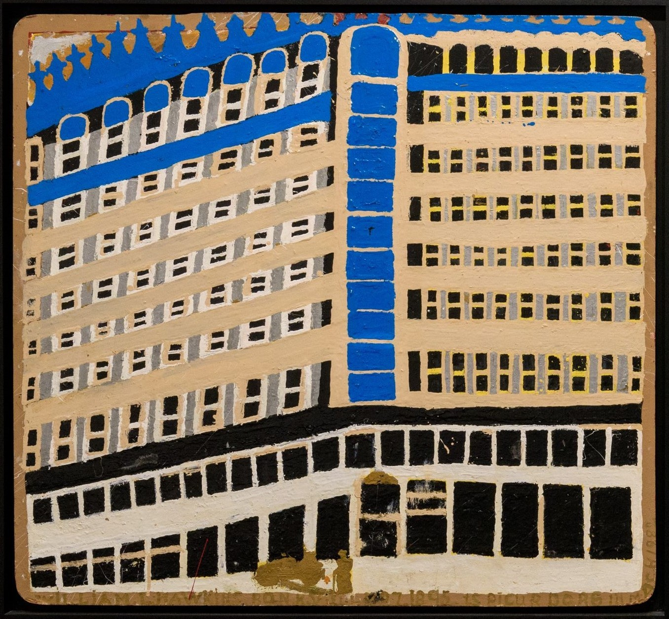 Painting of a building with white and black walls and windows on the first two floors and a brown exterior for the remaining 7 floors. Blue details at the top of the painting.