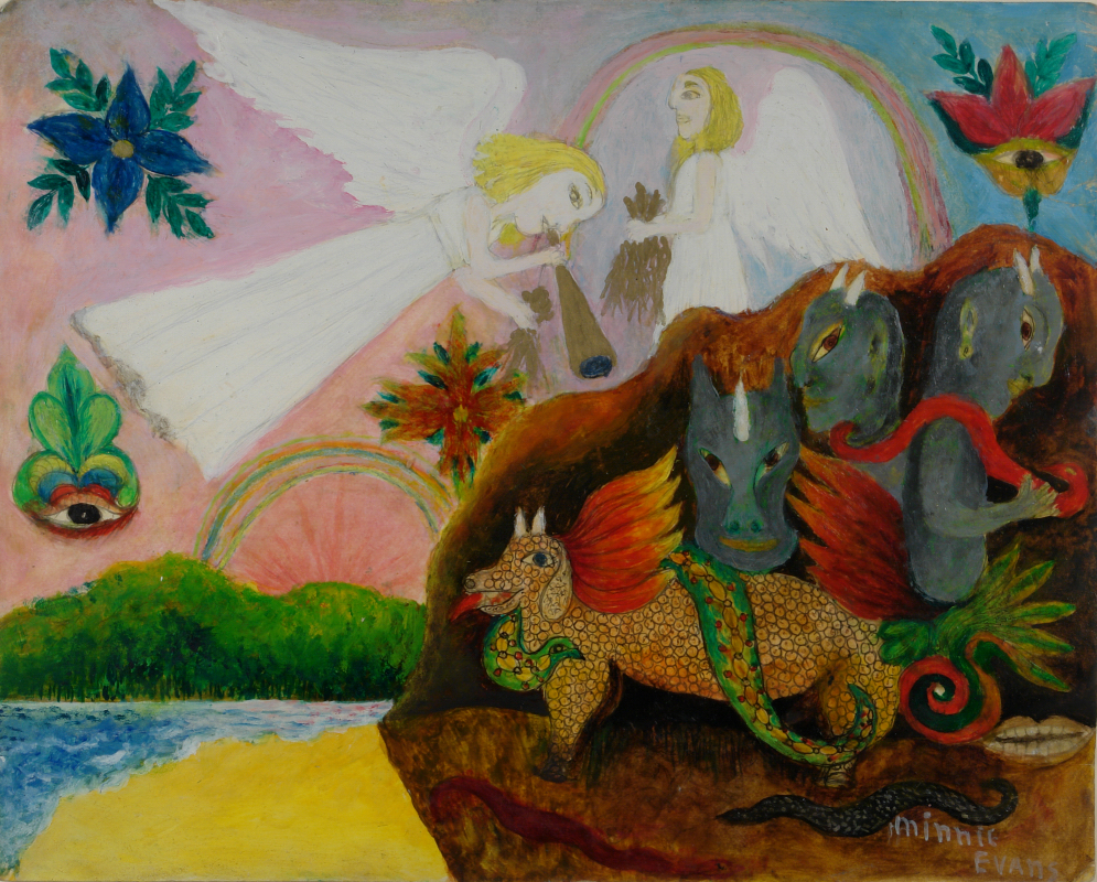 Painting of two angels flying over four demons with a rainbow and ocean in the background