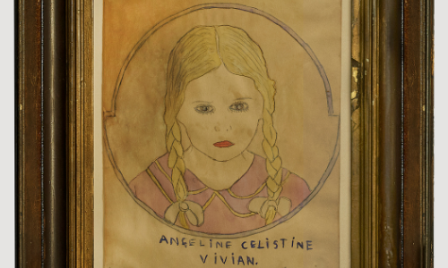 Photograph of an aged drawing of a girl with blonde braids wearing a pink dress, inside a wooden frame