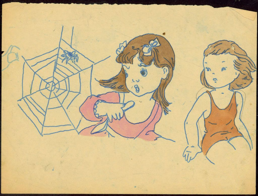 Drawing of two young girls, one in pink and one in orange, looking over their shoulders to see a spider web on the left