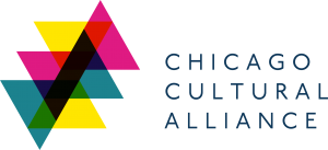 """Yellow, pink and teal triangles with text """"Chicago Cultural Alliance"""""""