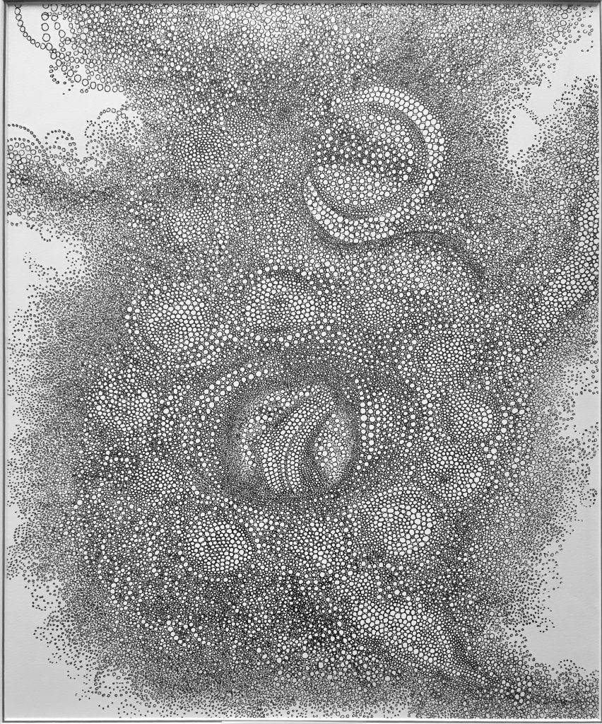 Drawing of intricate circles forming a larger mass