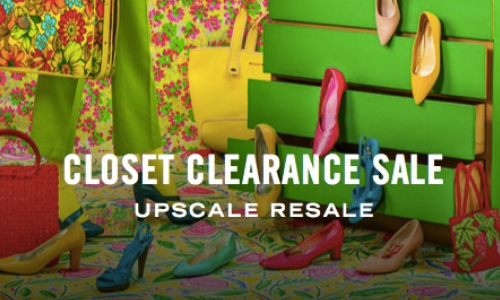 """Pink, orange, yellow and green accessories and clothing items staged on a dresser and suitcase in front of a floral backdrop with text """"Closet Clearance Sale: Upscale Resale"""""""